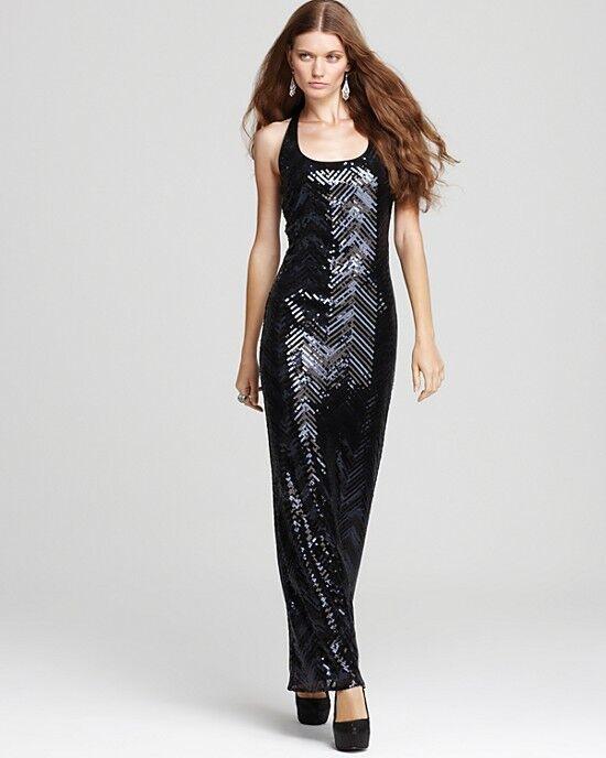 Trina Turk ALENA schwarz Sequin Racer Back Maxi Dress Gown 4