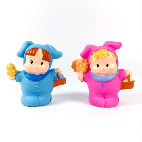 Lot 2PCS Fisher-Price Little People Boy IN Blue//Pink Bunny Toy Christmas Gift