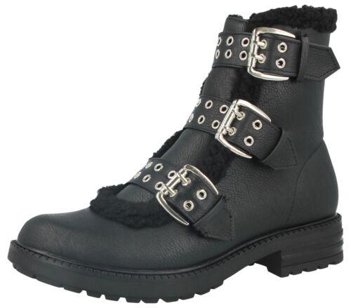 Ladies Krush Black Faux Leather Fashion Triple Buckle Sherling Biker Ankle Boots