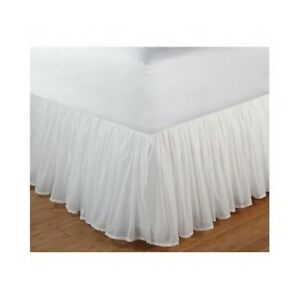 White-Bed-Skirt-Queen-Ruffled-Romantic-Gathered-Sheer-Voile-Dust-Ruffle-15-034-Drop