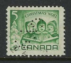 Perfin-C34-CPR-Montreal-QC-Scott-477-5c-1967-Christmas-Carolling-Position-4