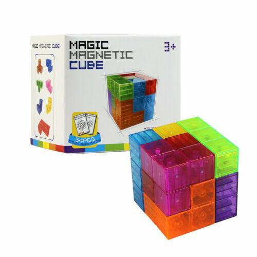 Magnetic Toy Building Blocks Shapes Set 3D Kids Transparent Bricks Great Gift UK