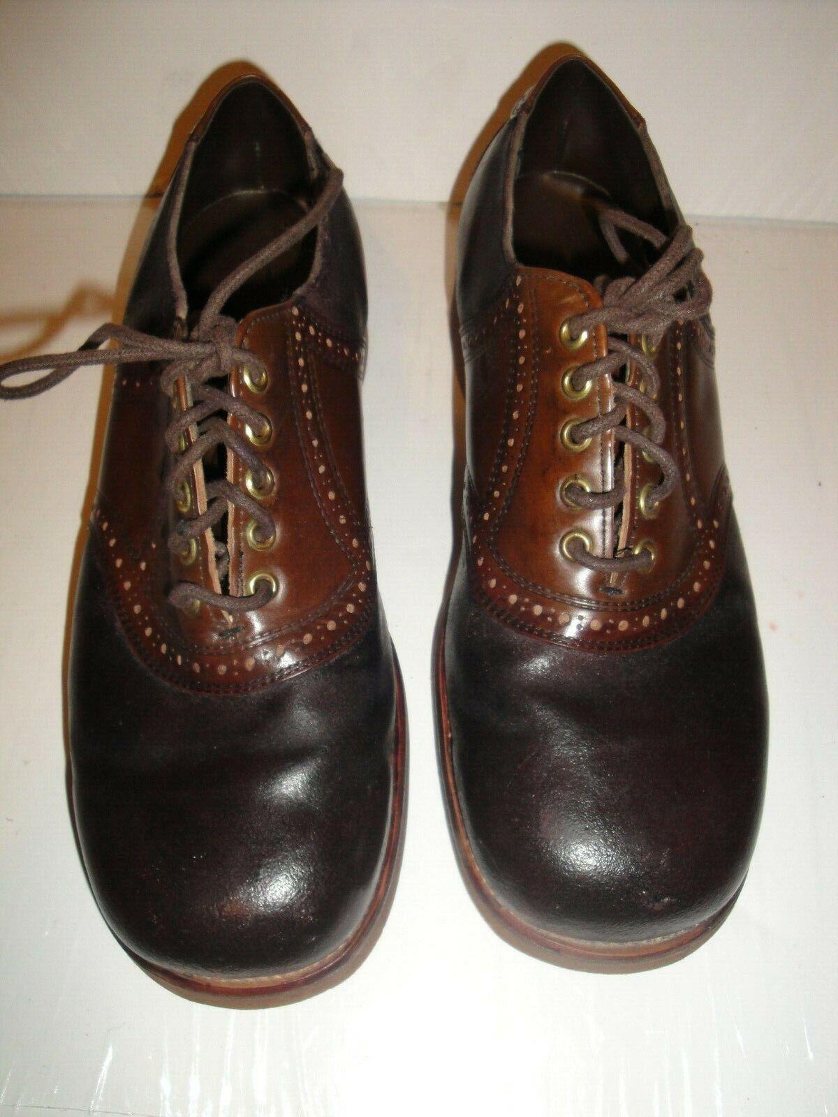Vintage Brown Black Leather Oxfords Men's shoes Size 10.5M