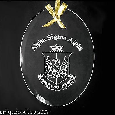 Alpha Sigma Alpha, ΑΣΑ, Crystal Beveled Oval Name & Crest  Ornament/Sun Catcher