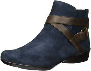 Naturalizer Womens Cassandra Leather Round Toe Ankle, Navy/Brown, Size 6.5 kP7M
