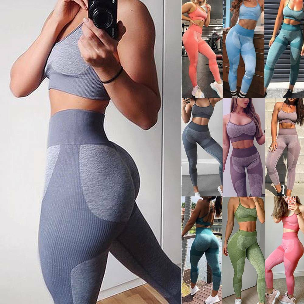 Womens Seamless Yoga Set Fitness Leggings Pants +Crop Top Sport Suit Gym Clothes