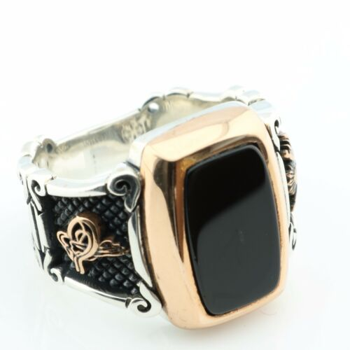 Unique 925 Sterling Silver Black ONYX Stone Otan Men's Ring US Seller K51M