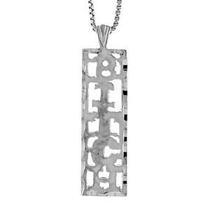 """Charm Sterling Silver /""""Hollywood/"""" Word Pendant 18/"""" Italian Box Chain"""
