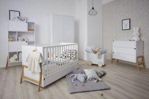 Details Zu Babyzimmer Komplett 5 Teilig Kinderzimmer Eichenholz Babybett Schrank Weiß Marta