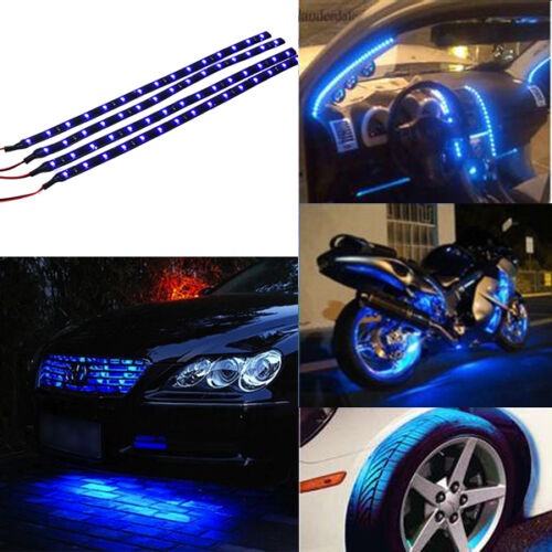 "4pcs Blue 12/"" 30CM 15 LED Car Motors Truck Flexible Strip Light Waterproof 12V"