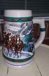 Vintage-1993-Holiday-Budweiser-Clydesdale-Stein-Mug-By-Ceramarte-Brazil