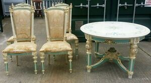 SHABBY CHIC ORNATE ITALIAN DINING TABLE AND CHAIRS EBay