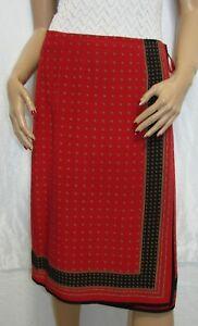 Liz-Claiborne-Collection-Size-6-Silk-Red-amp-Black-Print-Wrap-Knee-Length-Skirt