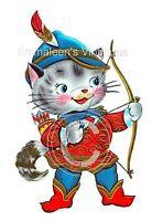 Vintage Image Retro Shabby Robin Hood Kitten Waterslide Decals An706