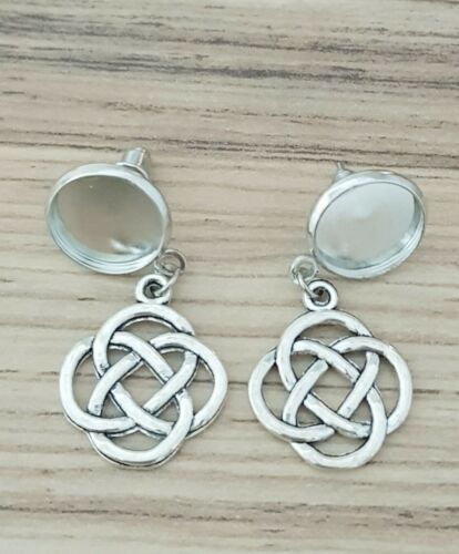 3 Pair Stud Celtic Knot Earring Antique Silver cabochon blank setting bezel 12mm