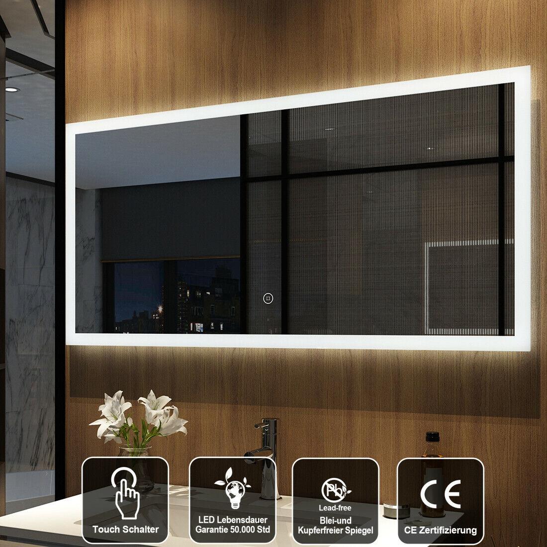 Badezimmerspiegel 120x60 Badspiegel LED Spiegel Touch Beleuchtung Wandspiegel