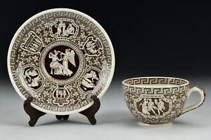 Vintage-Spode-Greek-Brown-Cup-and-Saucer