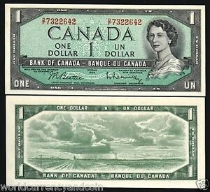 PAPER MONEY BILL BANK NOTE CANADA 1 DOLLAR P75 B 1954 YOUNG QUEEN PRAIRIE UNC