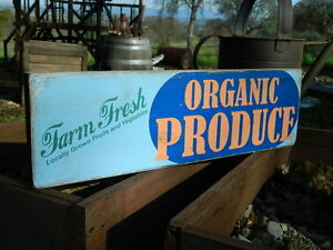 Distressed-Primitive-Country-Wood-Sign-Organic-Produce-Farm-sign-5-5-034-x-19-034
