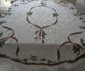 Lenox Holiday Nouveau Christmas Tablecloth Oval Damask 84 Ebay