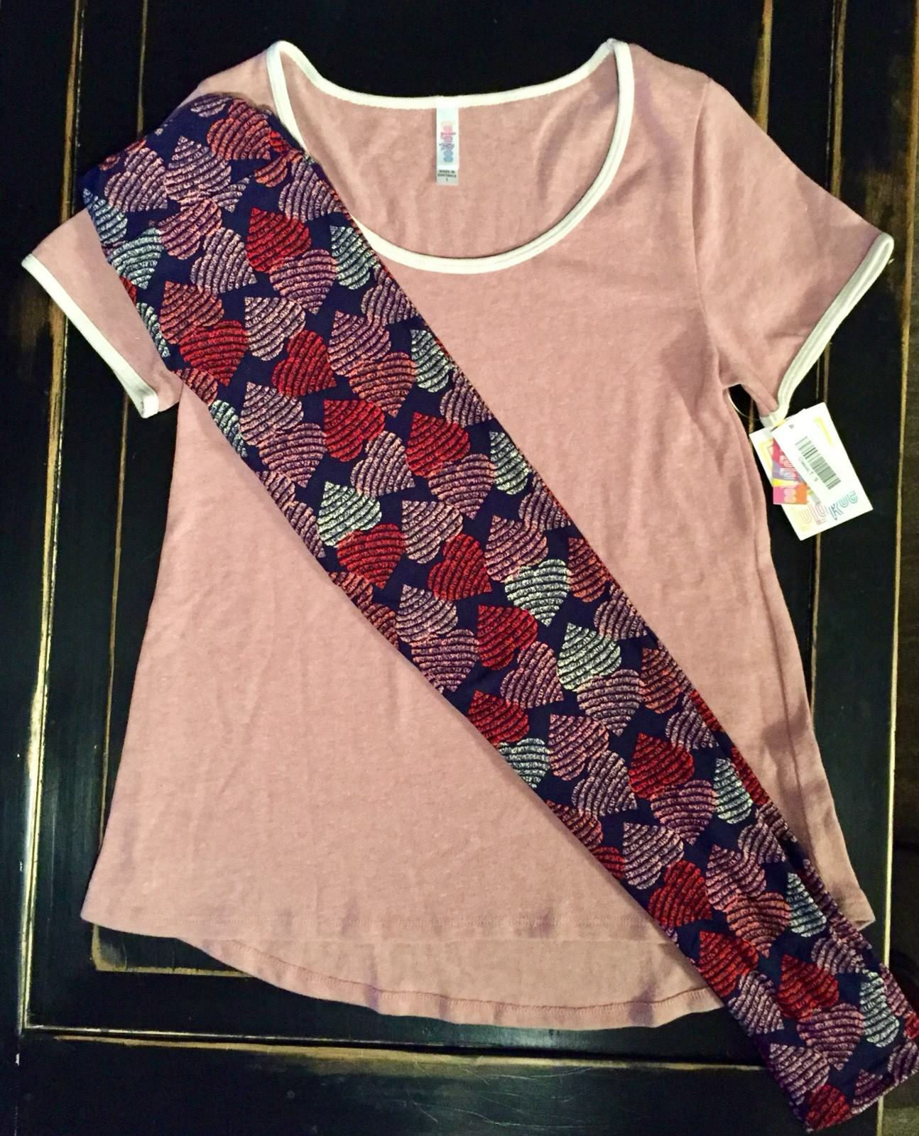 FREE SHIP  NWT LuLaRoe Outfit OS HEARTS Leggings NAVY & S Pink Classic T Top
