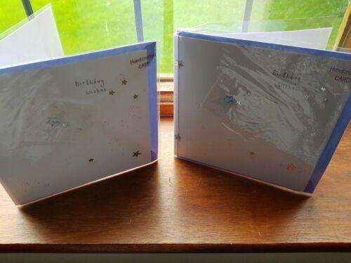 Mano hecha a mano Cumpleaños Tarjetas Estrellas Brillo 2 Pack