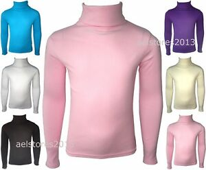 Girls-Kids-Jumper-Ribbed-Polo-Neck-Childrens-Tops-New-Childs-Teen-Baby-0-13-Yrs