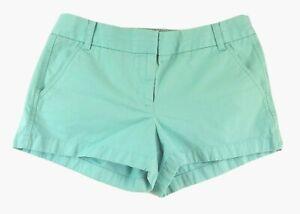 J Crew Womens Size 10 MED Chino Shorty Shorts Blue Aqua Cotton