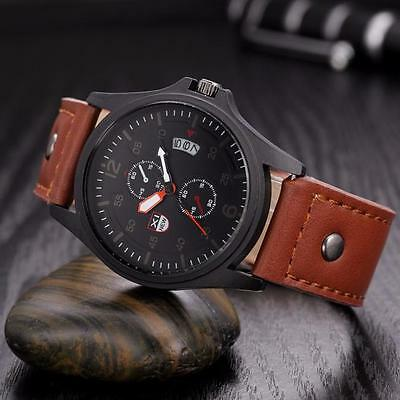 Men's Military Leather Waterproof Date Quartz Digital Army Quartz Wrist Watches