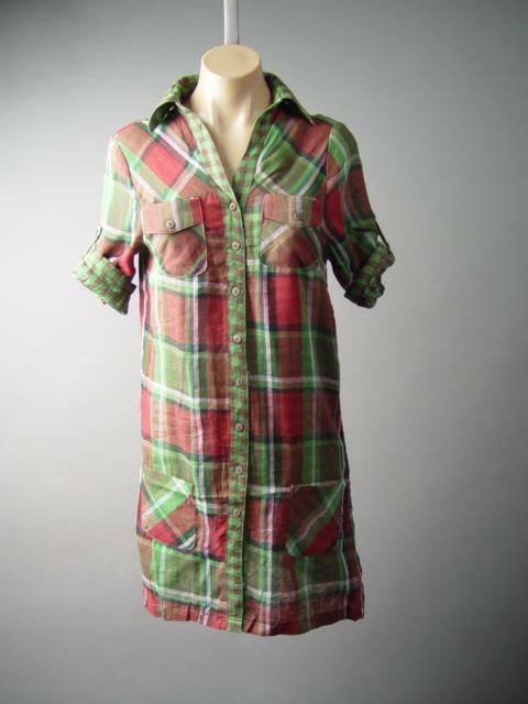 Plaid Rustic Country Lumberjack Button Down Cotton Tunic Shirt 130 mv Dress S XL