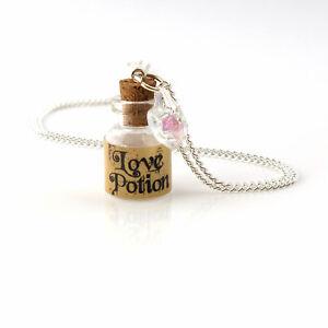 wonderland love potion mini bottle and crystal necklace