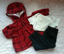 Baby girl clothes 12 months 3 pc outfit set cardigan jacket fleece red