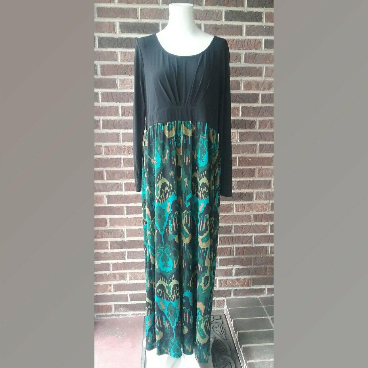 Bob Mackie Wearable Art Water Farbe Ikat Print  Scoop Neck  Dress Item  A229264