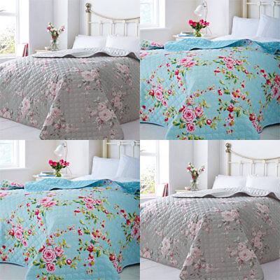 multi//bleu 240 x 260 cm Catherine lansfield maison canterbury matelassé couvre-lit