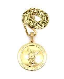 Gold saint st michael catholic pendant charm 24 chain necklace mens image is loading gold saint st michael catholic pendant charm 24 mozeypictures Choice Image
