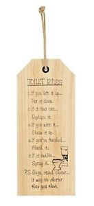 NEW SHABBY CHIC WOOD TOILET RULES BATHROOM HANGING WALL PICTURE WOODEN PLAQUE