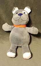 9� Carters Just One You Grey Bulldog Puppy Dog Orange Collar Plush Baby Toy Euc