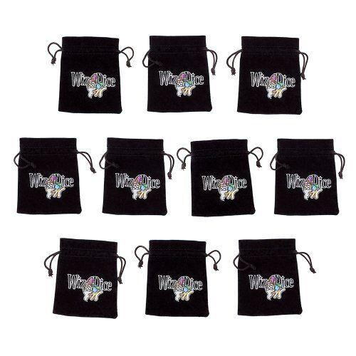 "Logo Wiz Dice Small 3/"" x 4/"" Black Velour Drawstring Dice Bag Pouches 10-pack"