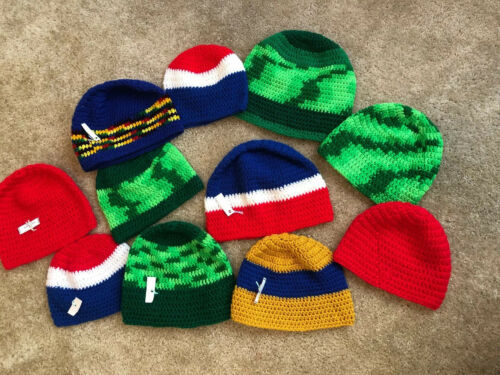 Lot Of 11 Hand Knit Bright Colors Beanie Ski Caps