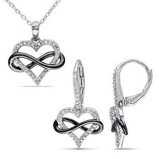 Sterling Silver 1/5 Ct TW Diamond Heart Infinity Necklace & Earrings Set GH I2I3