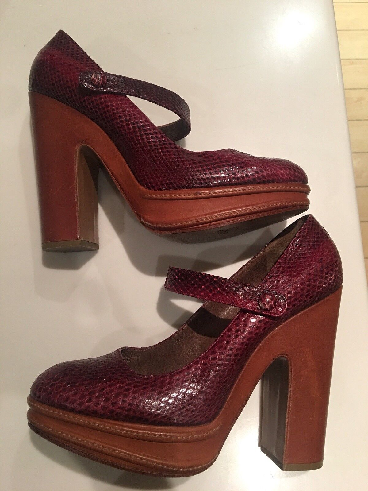 Marni High Heels Platform Python Skin Burgundy shoes Mary Janes Sz 41 Eu 7 Uk