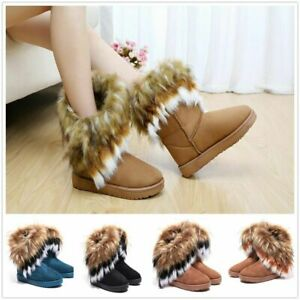 Fashion Women/'s Fluffy Fur Boot Winter Warm Ankle Snow Boots Suede Shoes Outdoor