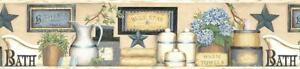 Wallpaper Border Martha Blue Country Bath Shelf  On Cream Butter Background