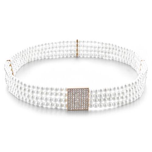 Frauen 4 Row Perle Perlen Kristall Schnalle Taille Korsett Gürtel Bund