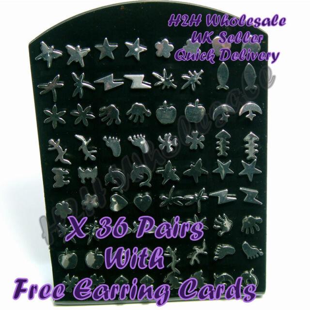 36 Pairs Stainless Steel Stud Earrings with FREE Black Earring Cards -UK Seller