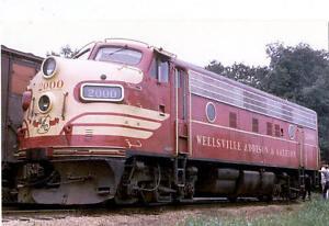 Wellesville-Addison-amp-Galeton-F7-diesel-locomotive-train-railroad-postcard-WAG