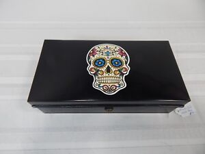 "Vintage! 10"" Black Metal Tin Cash Lock Box"