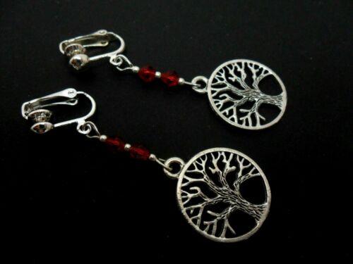 Un par de Plata Tibetana Árbol de la vida temática Cristal Rojo Pendientes De Clip Nueva.