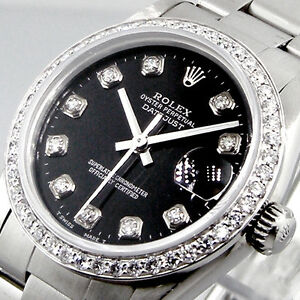 ROLEX-DATEJUST-MID-SIZE-31-mm-STEEL-MEDIUM-SIZED-OYSTER-BRACELET-BLACK-DIAMOND