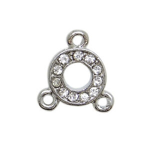 Beads & Jewelry Making Strict 2 Connecteurs Ronds En Métal Argenté Incrusté De Strass 3 Connections-co043